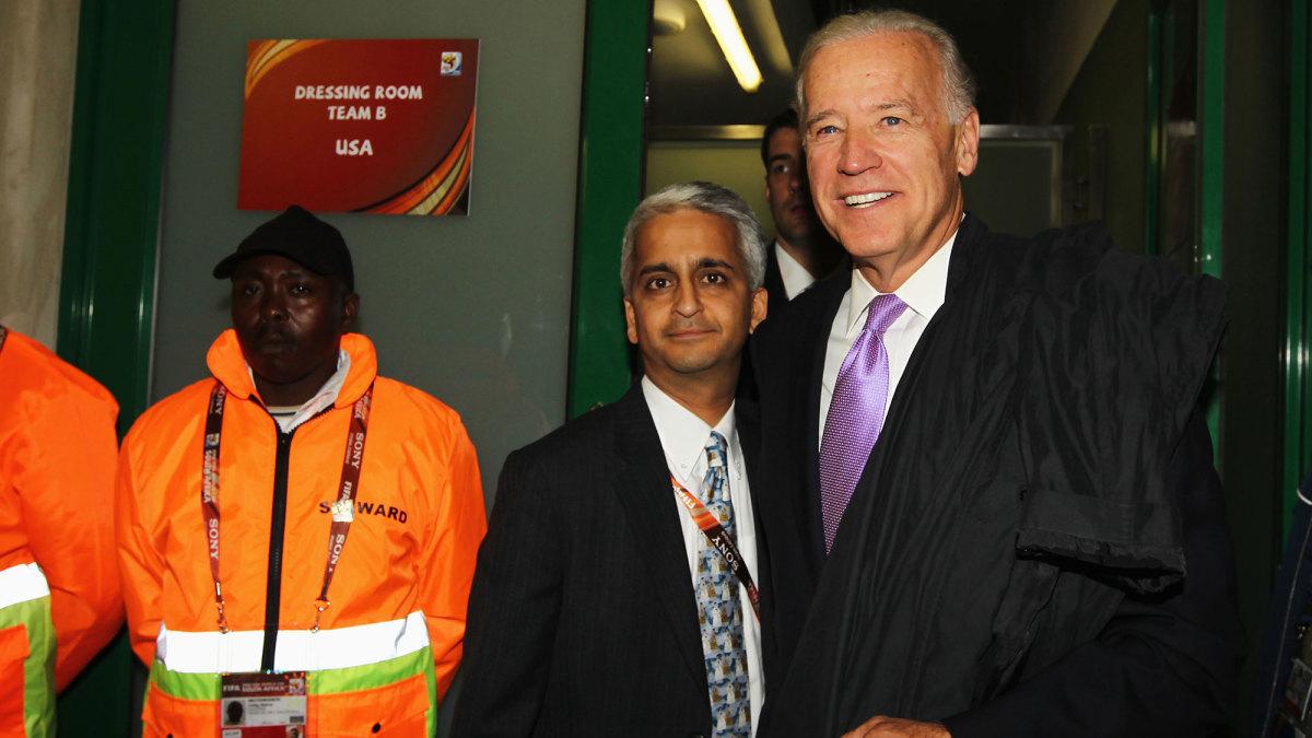 Sunil Gulati and Joe Biden at the 2010 World Cup