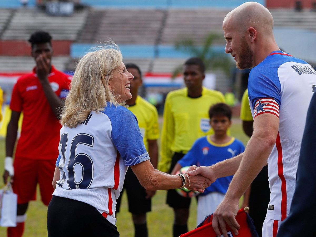 Jill Biden and Michael Bradley in a USMNT friendly in Cuba.