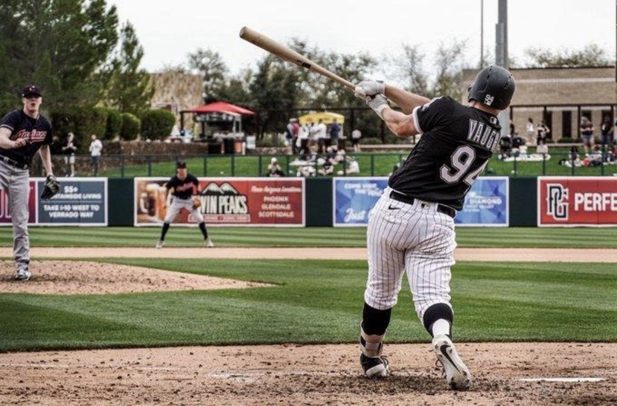 Former Cal star Andrew Vaughn at spring training with the White Sox