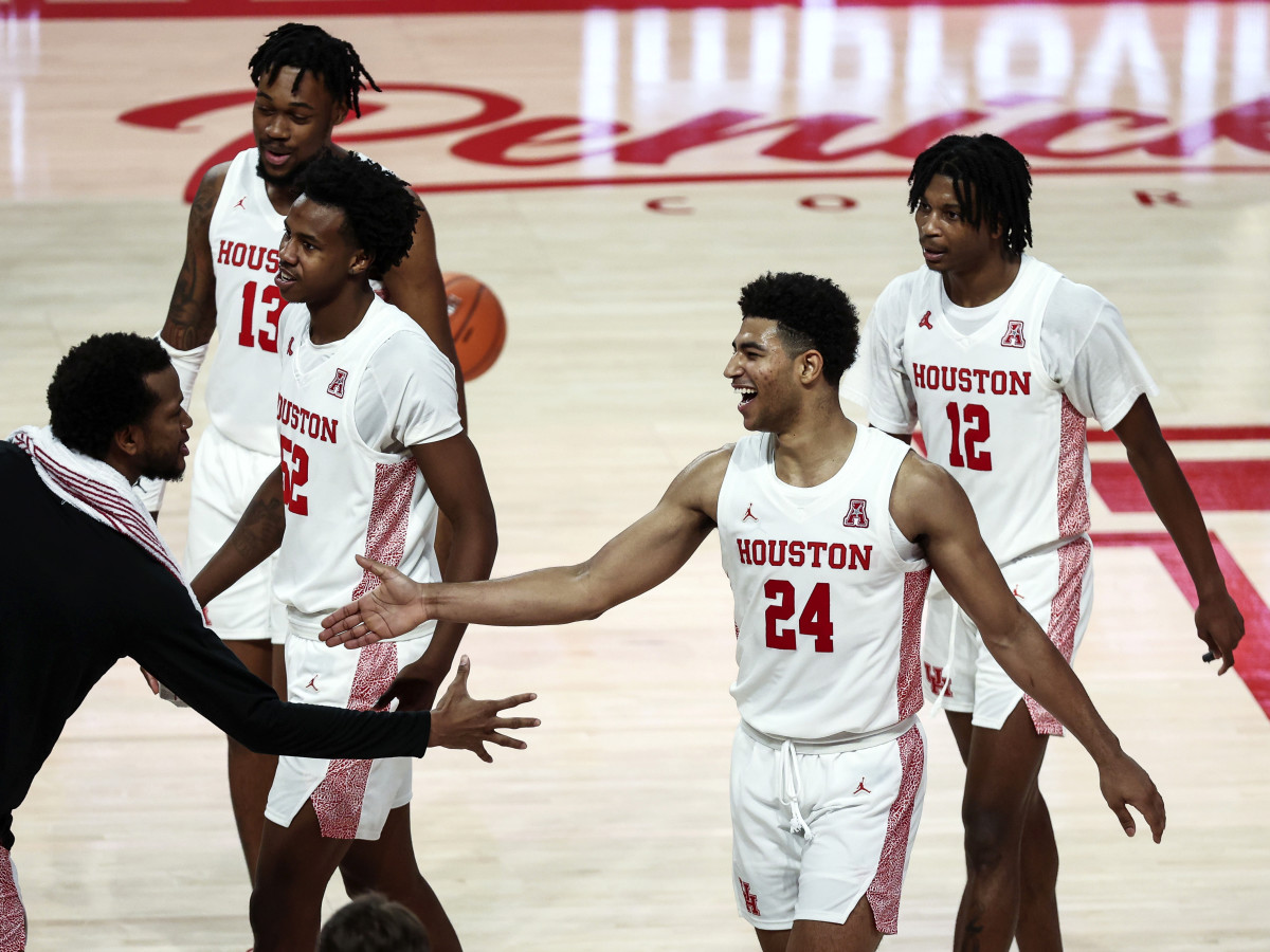 Dec 20, 2020; Houston, TX, USA; Houston Cougars guard Quentin Grimes (24) celebrates with teammates after a play against the Alcorn State Braves during the second half at Fertitta Center.