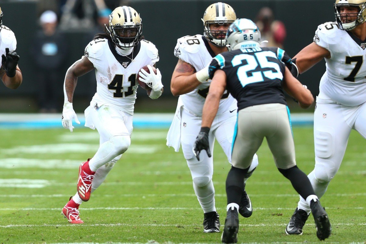 Dec 29, 2019; Charlotte, North Carolina, USA; New Orleans Saints running back Alvin Kamara (41) carries the ball during the first quarter against the Carolina Panthers at Bank of America Stadium. Mandatory Credit: Jeremy Brevard-USA TODAY Sports