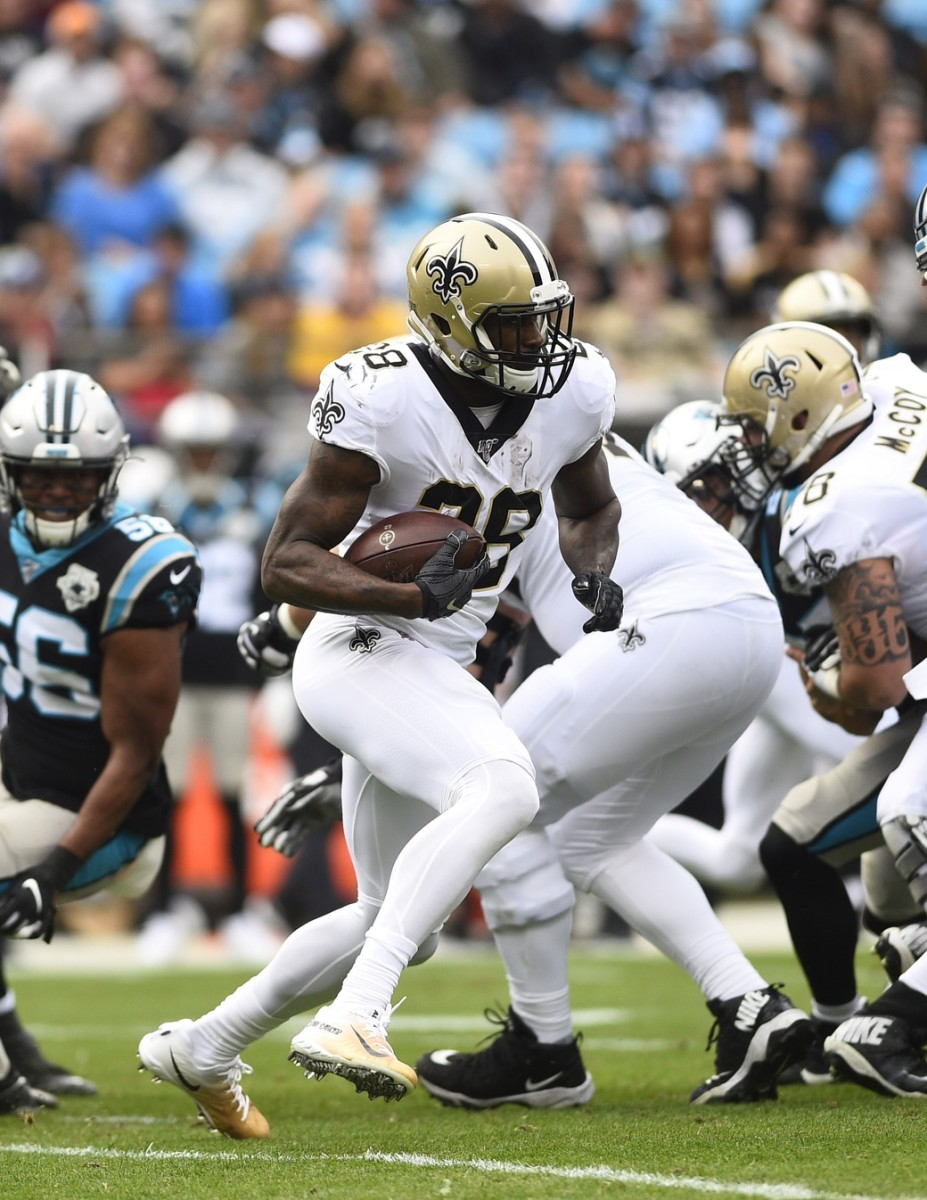 Dec 29, 2019; Charlotte, North Carolina, USA; New Orleans Saints running back Latavius Murray (28) with the ball in the first quarter at Bank of America Stadium. Mandatory Credit: Bob Donnan-USA TODAY
