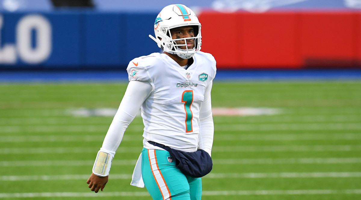 Miami Dolphins quarterback Tua Tagovailoa looks on from the field against the Buffalo Bills during the third quarter at Bills Stadium.