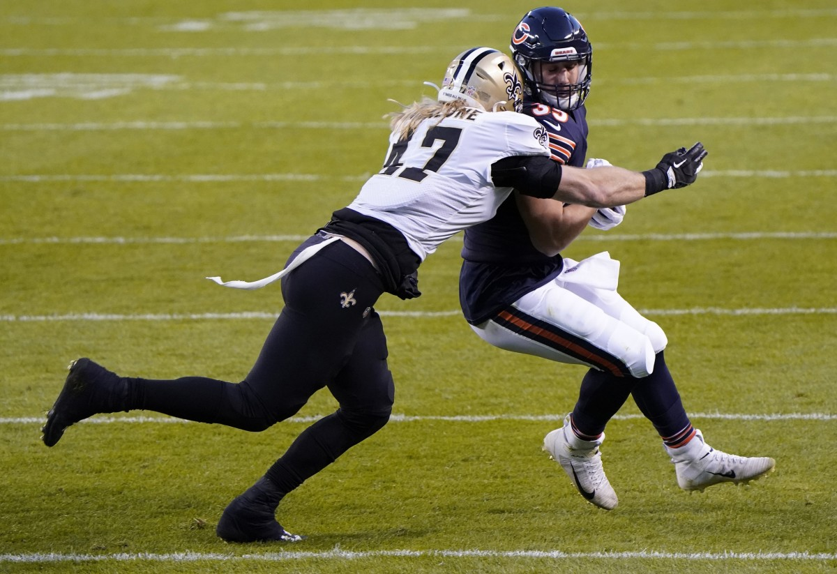 Nov 1, 2020; Chicago, Illinois, USA; Chicago Bears running back Ryan Nall (35) makes a catch against New Orleans Saints middle linebacker Alex Anzalone (47) during the second quarter at Soldier Field. Mandatory Credit: Mike Dinovo-USA TODAY
