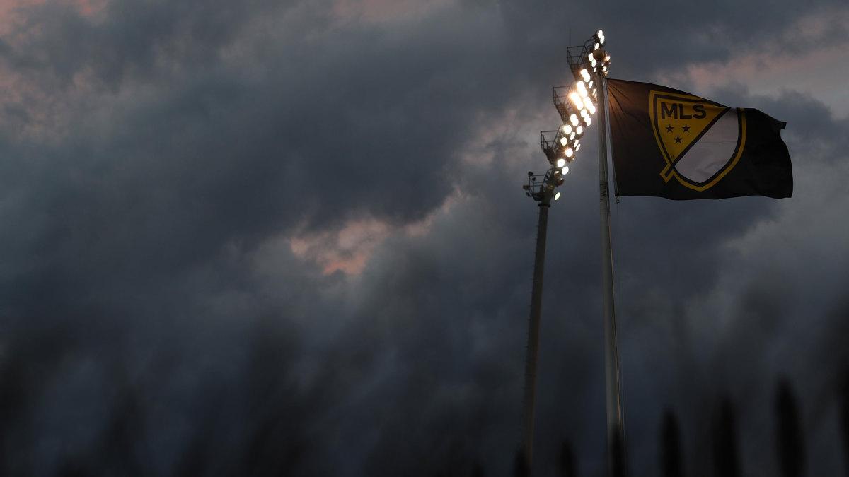 An MLS flag in Columbus before 2020 MLS Cup