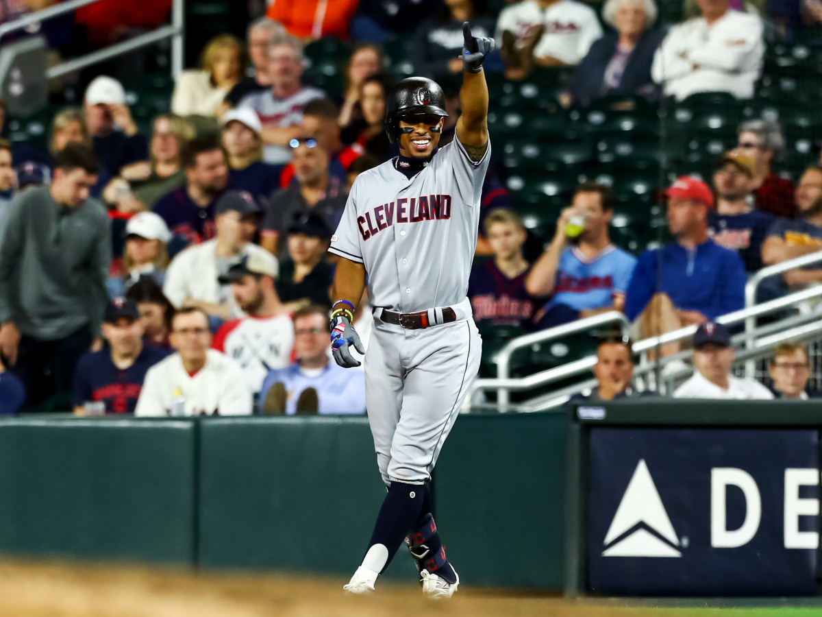 Sep 6, 2019; Minneapolis, MN, USA; Cleveland Indians shortstop Francisco Lindor (12) celebrates after hitting an RBI single against the Minnesota Twins in the eleventh inning at Target Field.