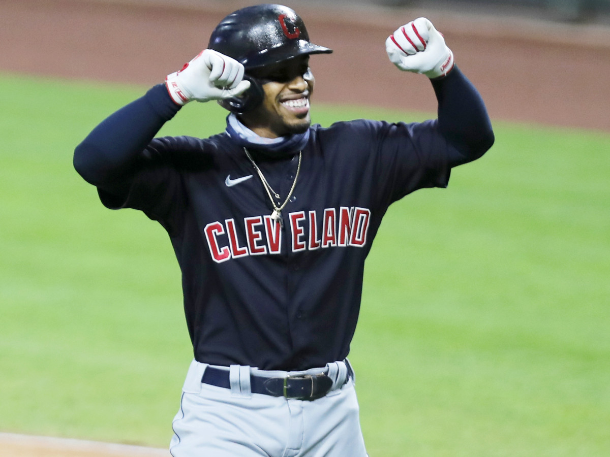 Aug 3, 2020; Cincinnati, Ohio, USA; Cleveland Indians shortstop Francisco Lindor (12) reacts after hitting a solo home run against the Cincinnati Reds during the first inning at Great American Ball Park.
