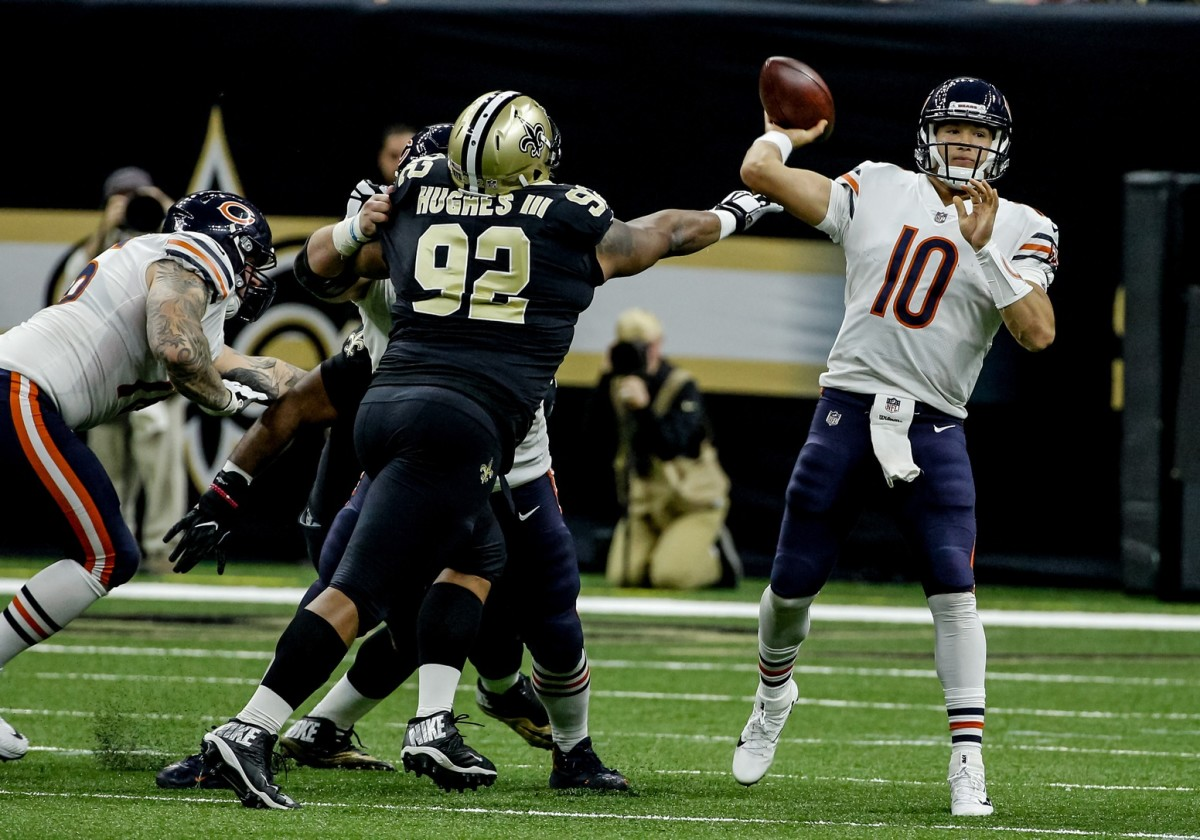 Oct 29, 2017; New Orleans, LA, USA; Chicago Bears quarterback Mitchell Trubisky (10) throws a pass during the second half of a game at the Mercedes-Benz Superdome. The Saints defeated the Bears 20-12. Mandatory Credit: Derick E. Hingle-USA TODAY