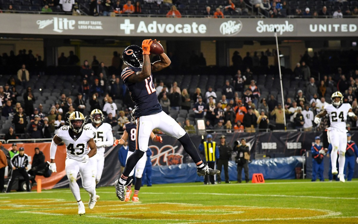 Oct 20, 2019; Chicago, IL, USA; Chicago Bears wide receiver Allen Robinson (12) makes a touchdown catch against the New Orleans Saints during the second half at Soldier Field. Mandatory Credit: Mike DiNovo-USA TODAY Sports