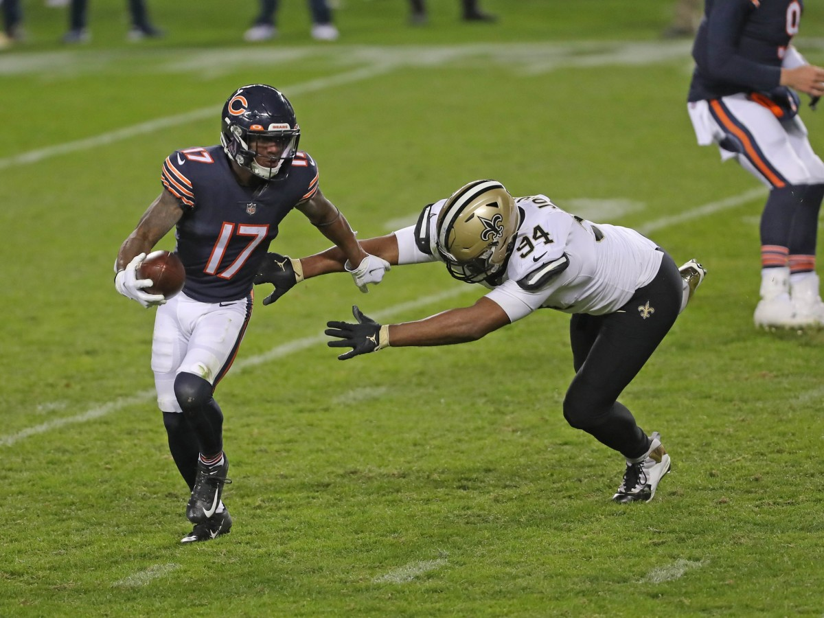 Nov 1, 2020; Chicago, Illinois, USA; Chicago Bears wide receiver Anthony Miller (17) running past New Orleans Saints defensive end Cameron Jordan (94) during the second half at Soldier Field. Mandatory Credit: Dennis Wierzbicki-USA TODAY