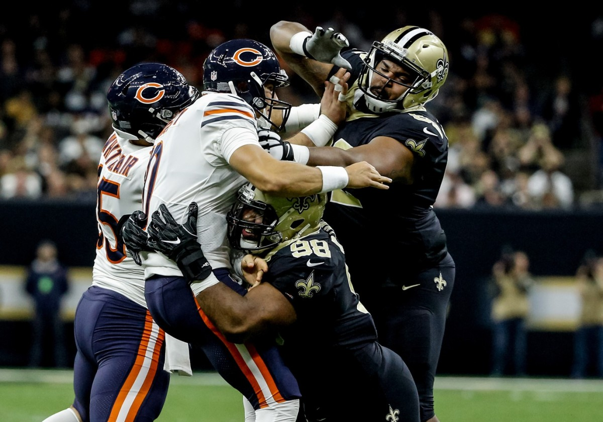 Oct 29, 2017; New Orleans, LA, USA; New Orleans Saints defensive tackle Sheldon Rankins (98) hits Chicago Bears quarterback Mitchell Trubisky (10) as a he throws a pass during a game at the Mercedes-Benz Superdome. The Saints defeated the Bears 20-12. Mandatory Credit: Derick E. Hingle-USA TODAY