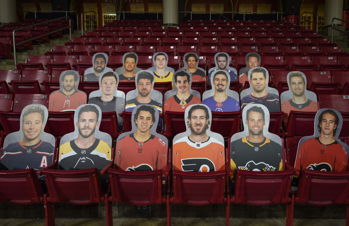 Cardboard cutouts of NHL players.