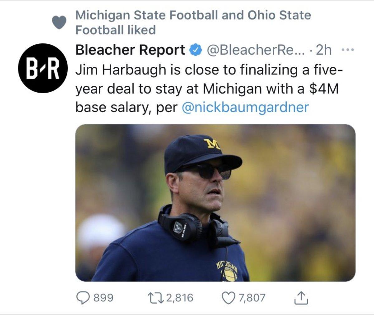 jim harbaugh ohio state michigan state tweet