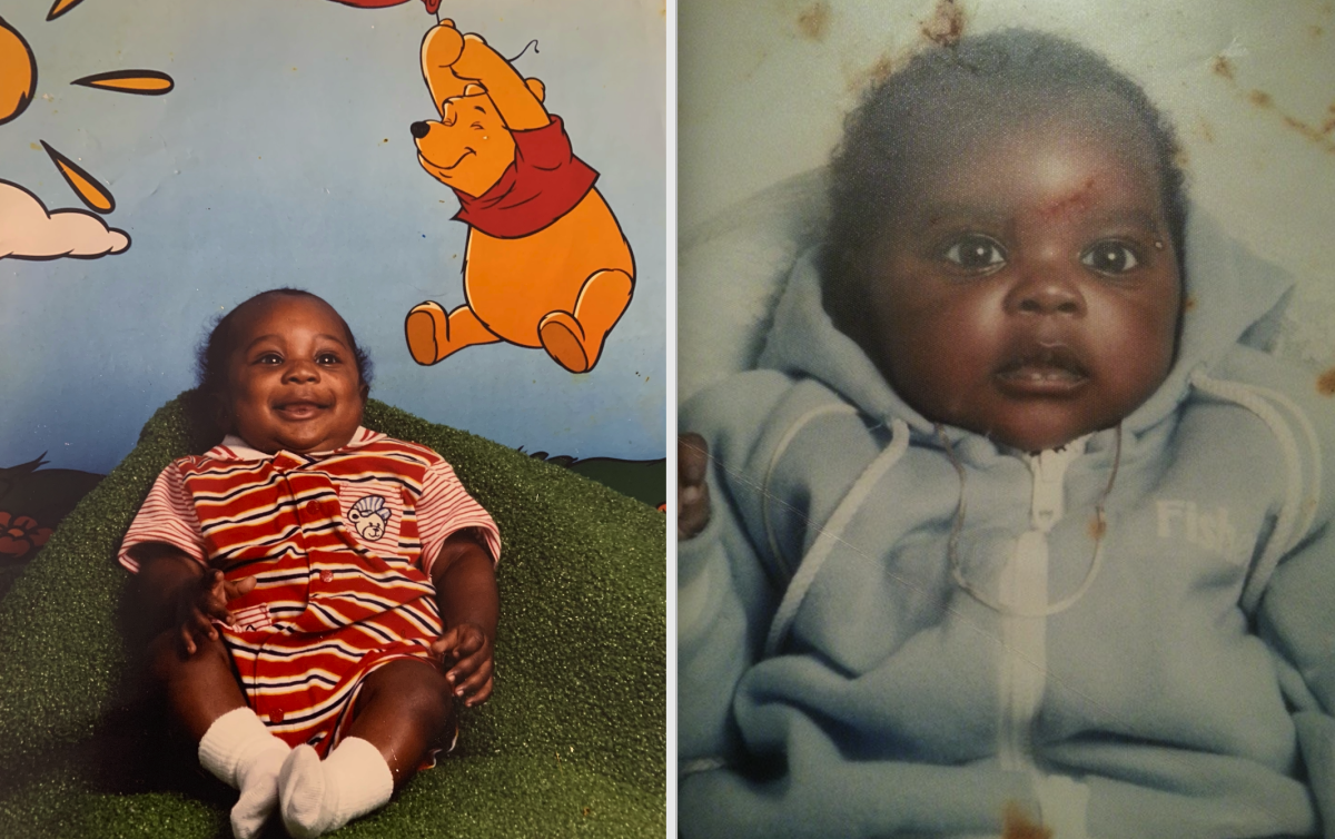 Trey Sermon and his half-brother at age 2