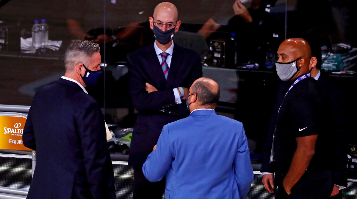 NBA commissioner Adam Silver talks before game five of the 2020 NBA Finals between the Los Angeles Lakers and the Miami Heat at AdventHealth Arena.