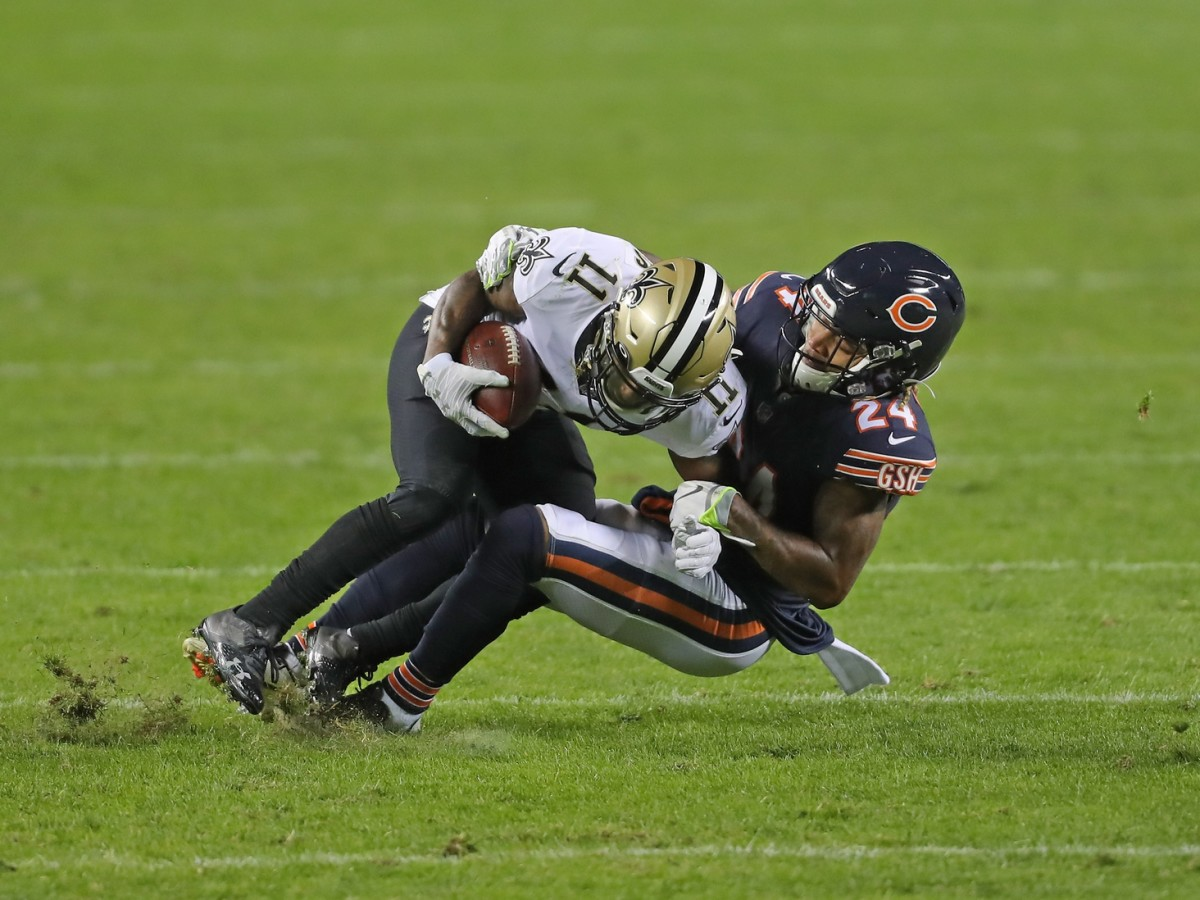 Nov 1, 2020; Chicago, Illinois, USA; New Orleans Saints wide receiver Deonte Harris (11) is tackled by Chicago Bears cornerback Buster Skrine (24) during the second half at Soldier Field. Mandatory Credit: Dennis Wierzbicki-USA TODAY