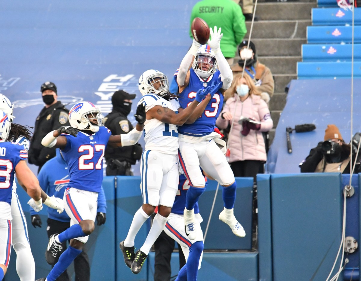 Buffalo Bills safety Micah Hyde knowns down a Hail Mary pass on the final play of a 27-24 AFC Wild Card Playoff win over the Indianapolis Colts on Saturday at Bills Stadium.