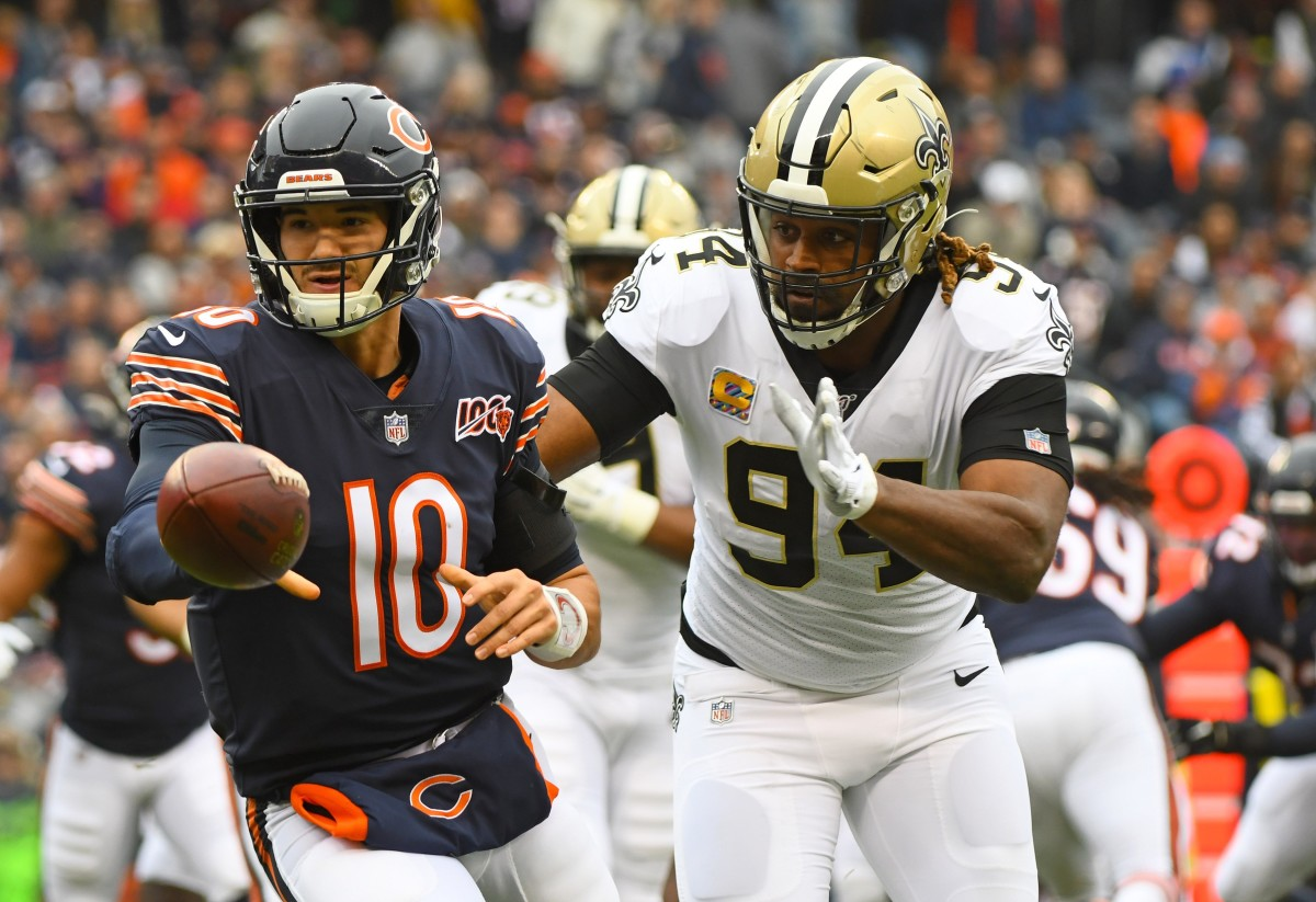 Oct 20, 2019; Chicago, IL, USA; Chicago Bears quarterback Mitchell Trubisky (10) throws the ball against New Orleans Saints defensive end Cameron Jordan (94) during the first half at Soldier Field. Mandatory Credit: Mike DiNovo-USA TODAY