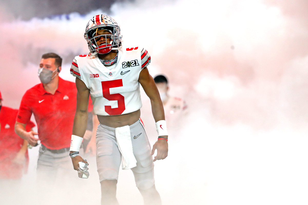 Garrett Wilson takes the field for the CFP National Title Game in Miami.