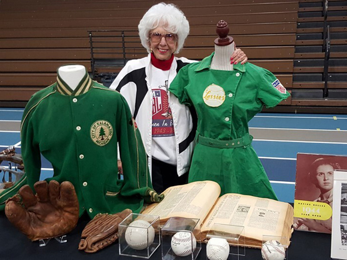 Maybelle Blair stands with memorabilia