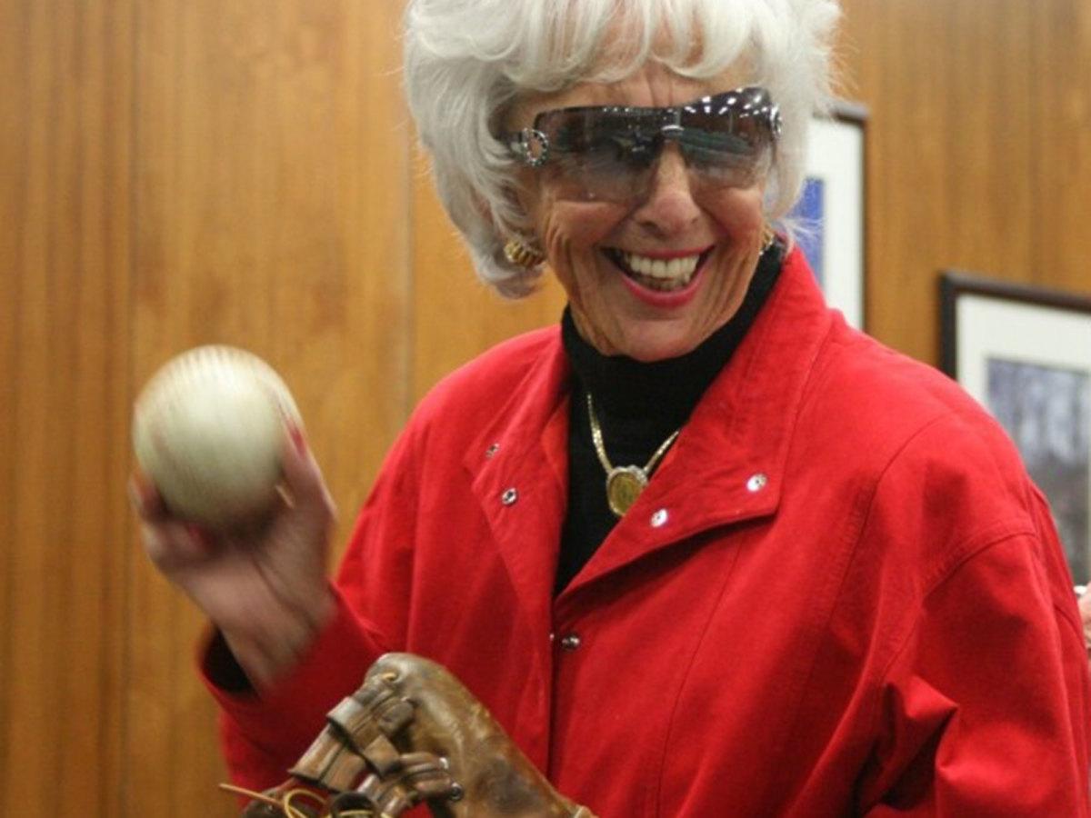 Maybelle Blair holds a baseball