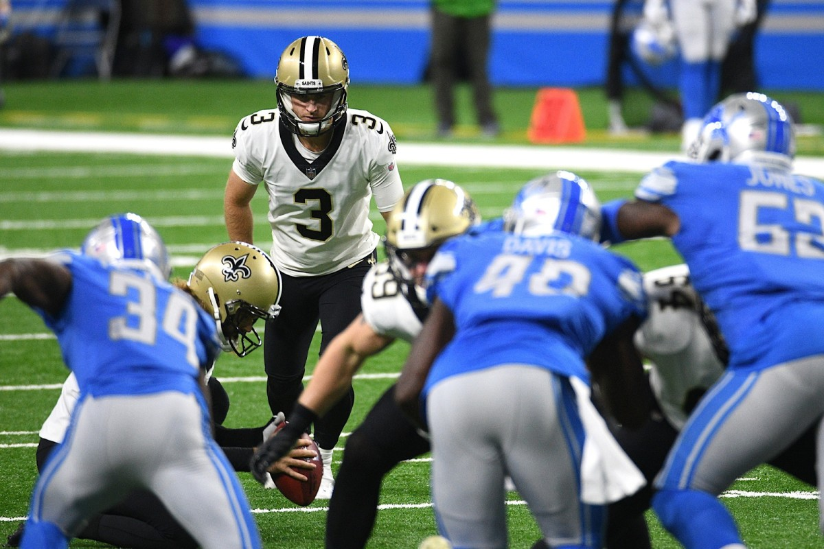 Oct 4, 2020; Detroit, Michigan, USA; New Orleans Saints kicker Wil Lutz (3) kicks a point after attempt against the Detroit Lions during the second quarter at Ford Field. Mandatory Credit: Tim Fuller-USA TODAY