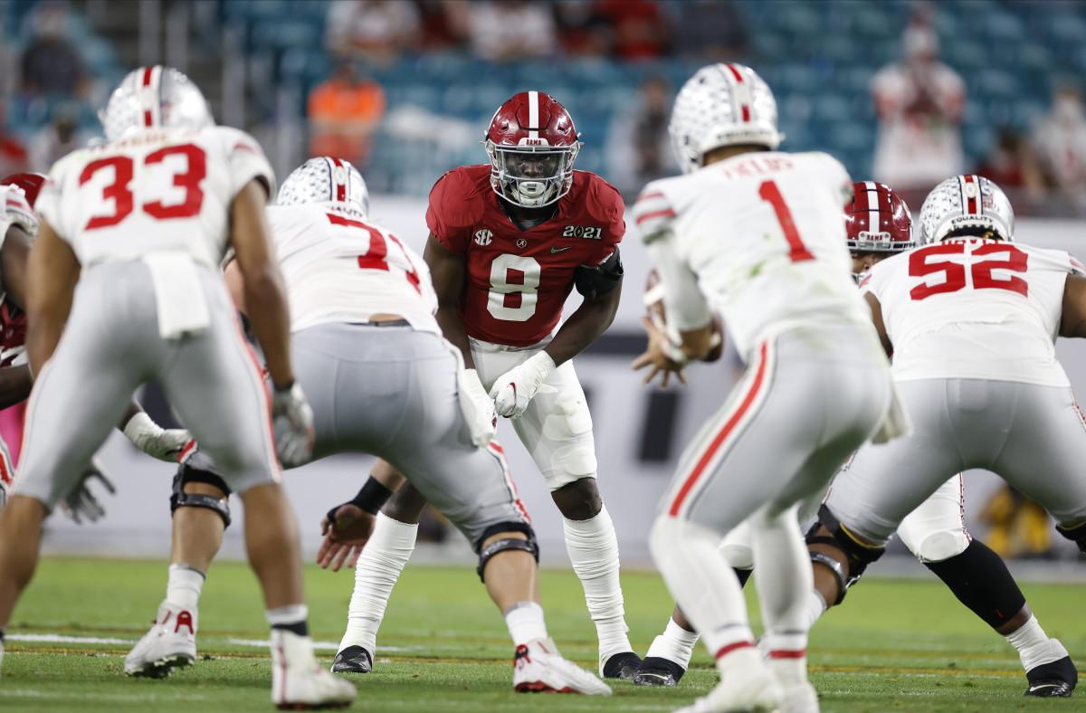 January 11, 2021, Alabama linebacker Christian Harris in the CFP National Championship in Miami, FL.