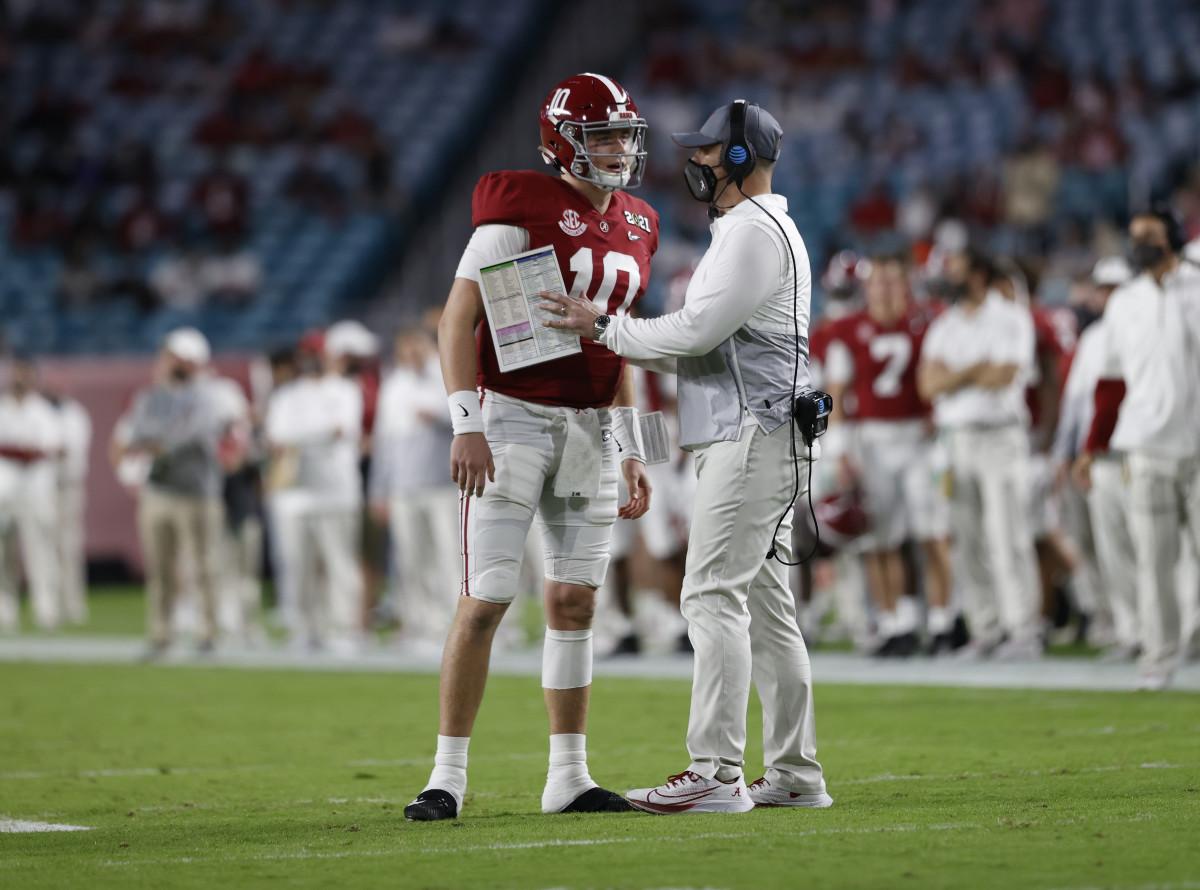 January 11, 2021, Alabama quarterback Mac Jones and offensive coordinator Steve Sarkisian in CFP National Championship in Miami, FL.