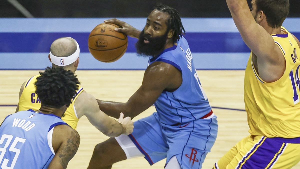 Houston Rockets guard James Harden dribbles the ball against the Los Angeles Lakers
