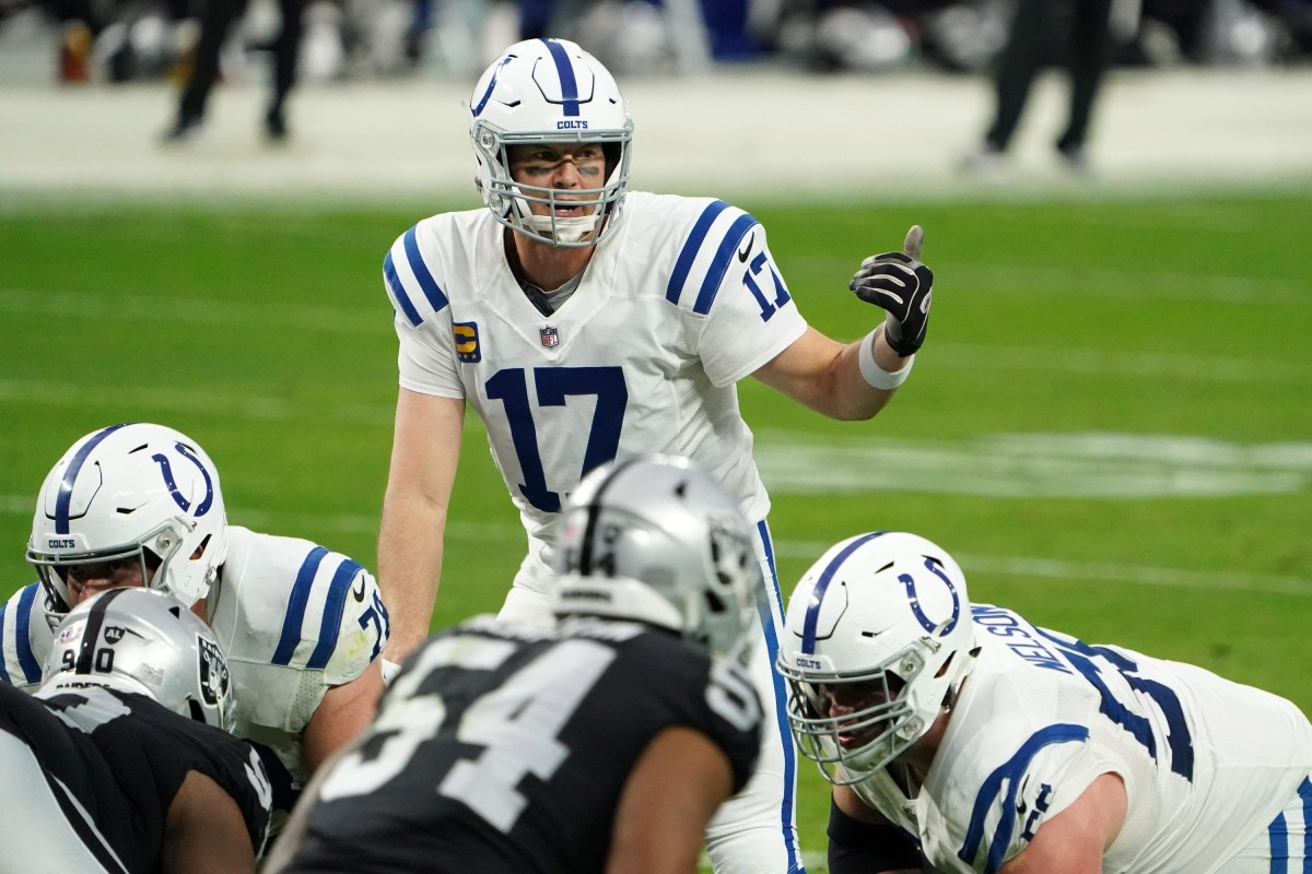 Indianapolis Colts quarterback Philip Rivers calls a player in motion during a December game at Las Vegas.