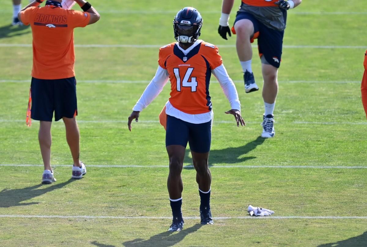 Denver Broncos wide receiver Courtland Sutton (14) during training camp at the UCHealth Training Center.