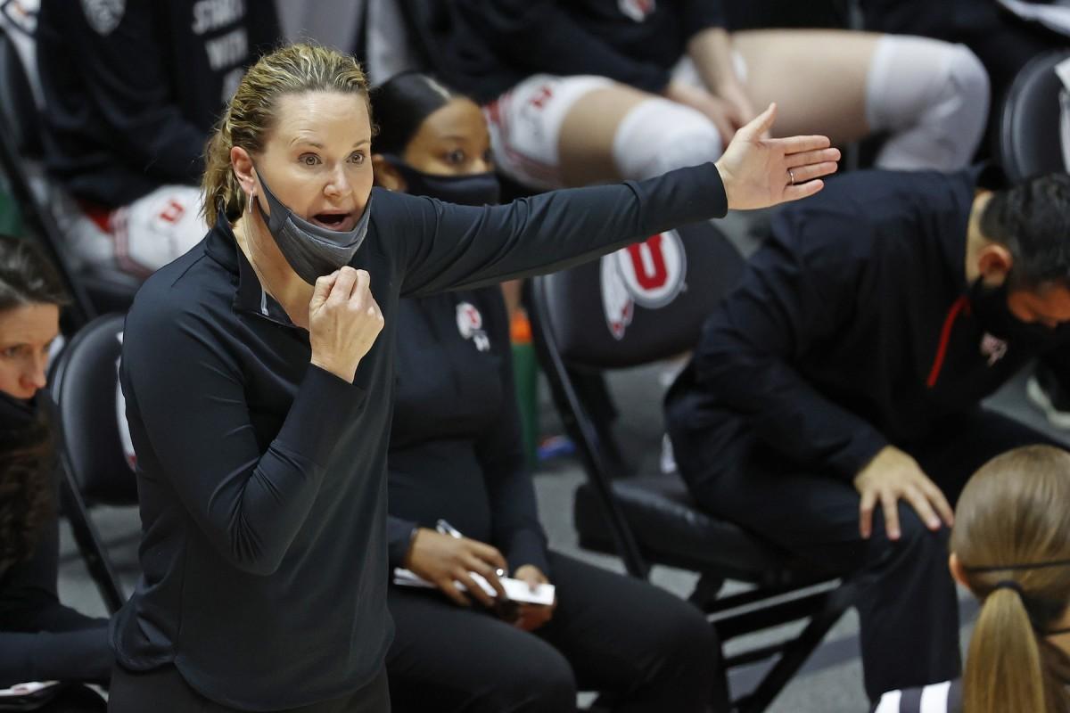Jan 15, 2021; Salt Lake City, Utah, USA; Utah Utes head coach Lynne Roberts reacts in the first quarter against the Stanford Cardinal at Jon M. Huntsman Center.