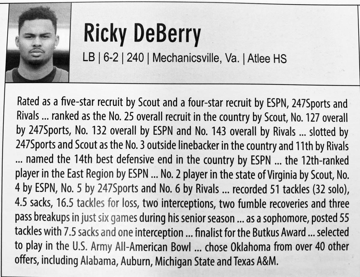 DeBerry's bio in the 2015 OU media guide