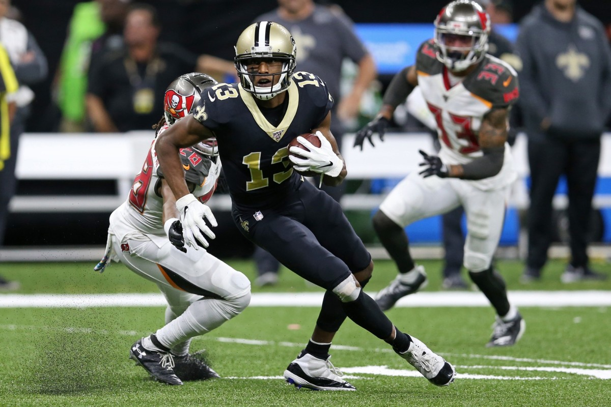 Oct 6, 2019; New Orleans, LA, USA; New Orleans Saints wide receiver Michael Thomas (13) makes a catch against Tampa Bay Buccaneers in the second quarter at the Mercedes-Benz Superdome. Mandatory Credit: Chuck Cook-USA TODAY
