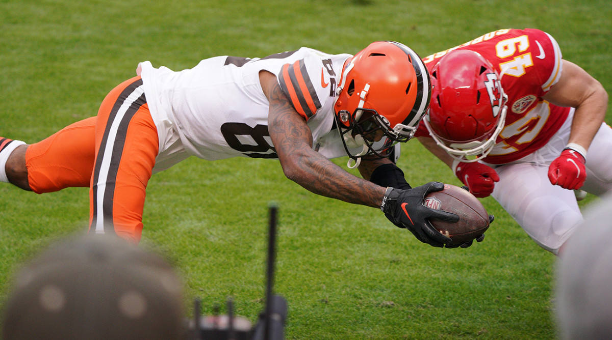 Rashard Higgins attempting to dive for a touchdown