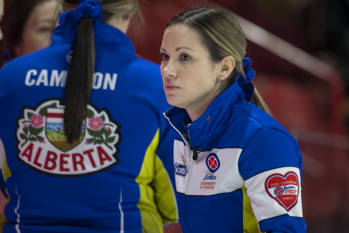 Laura Walker wears her dye-sublimated heart • Andrew Klaver-Curling Canada