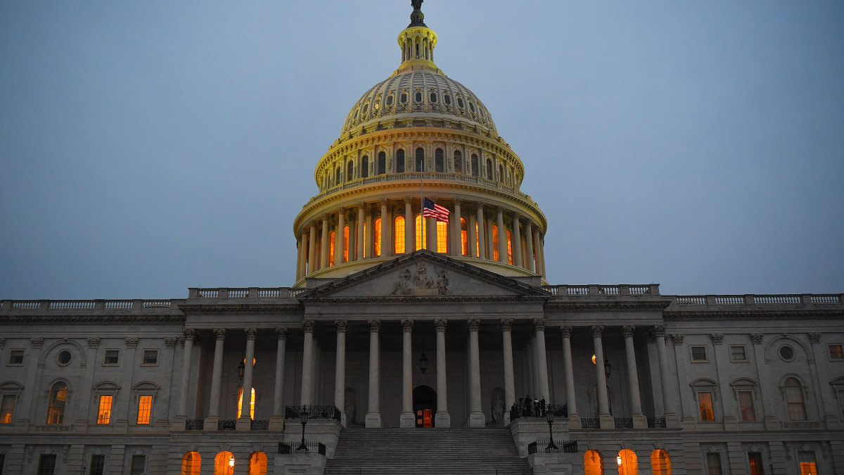 The U.S. Capitol is seen at dusk