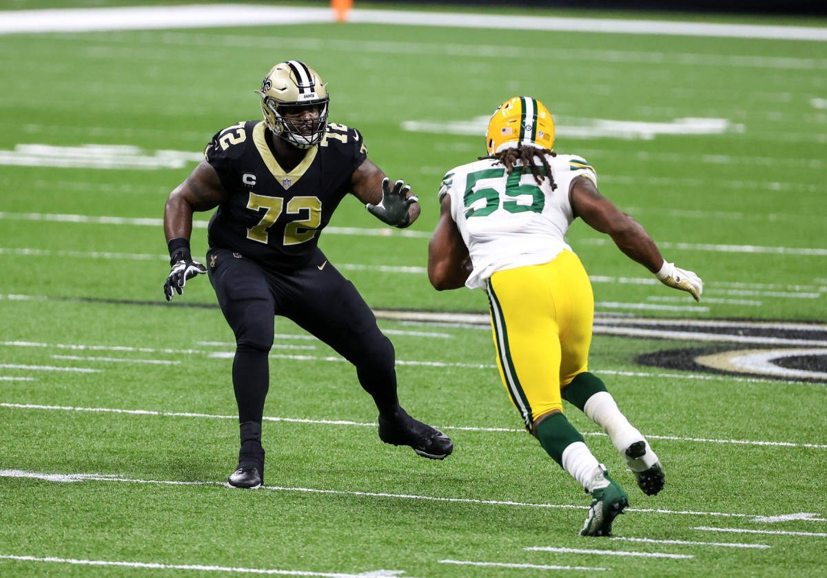 Sep 27, 2020; New Orleans, Louisiana, USA; Saints offensive tackle Terron Armstead (72) against the Packers defensive end Za'Darius Smith during the second half at the Mercedes-Benz Superdome. Mandatory Credit: Derick E. Hingle-USA TODAY Sports
