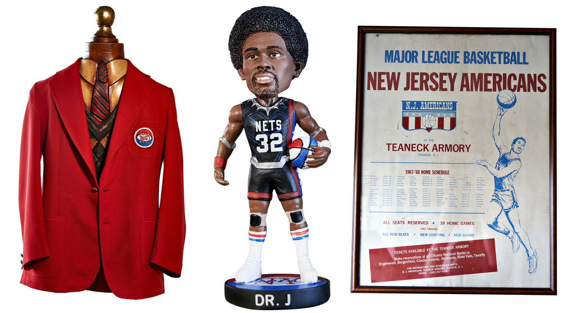 Among Turetzky's prizes: his red blazer from 1976, a Dr. J bobblehead and a poster from the team's first season.