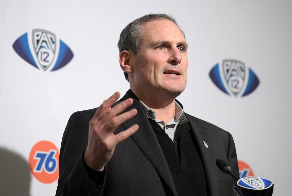 Dec 6, 2019; Santa Clara, CA, USA; Pac-12 commissioner Larry Scott speaks at a press conference during the Pac-12 Conference championship game between the Oregon Ducks and the Utah Utes at Levi's Stadium.