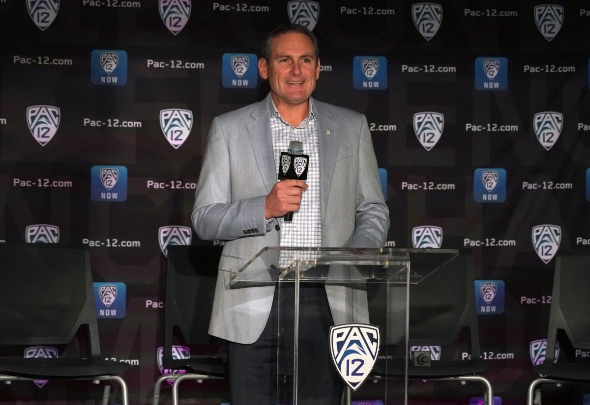 Oct 8, 2019; San Francisco, CA, USA; Pac-12 commissioner Larry Scott speaks during Pac-12 media day at the Pac-12 Network Studios.