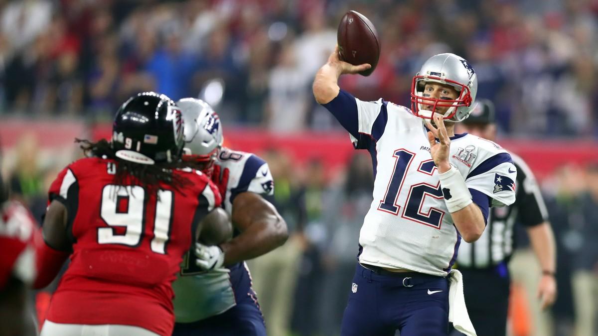 Tom Brady throws against the Falcons in Super Bowl LI.