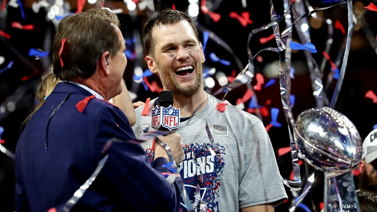 Tom Brady celebrates with the Lombardi Trophy after the Patriots beat the Rams in Super Bowl LIII.