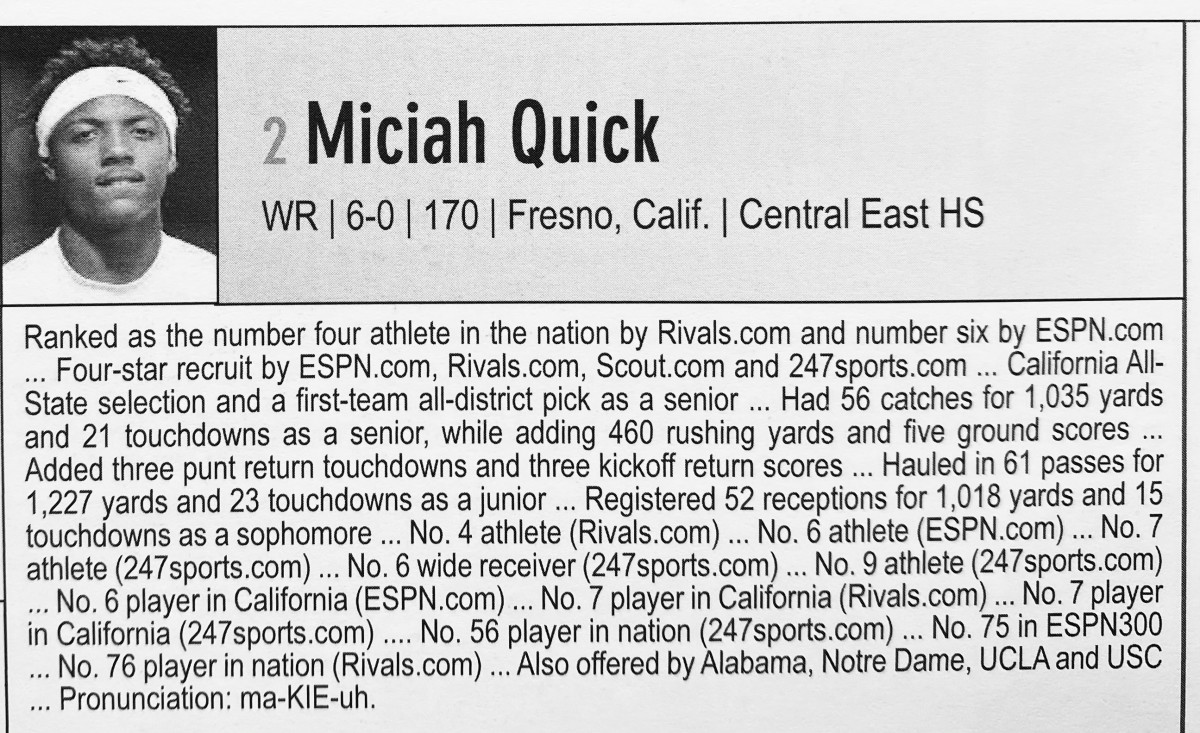 Michiah Quick's bio in the 2014 OU media guide