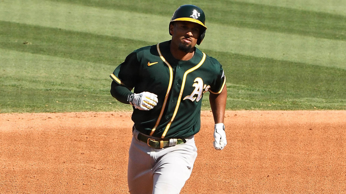 Oakland Athletics shortstop Marcus Semien (10) runs the bases after hitting a solo home run off of Houston Astros starting pitcher Jose Urquidy (not pictured) during the fifth inning in game three of ...