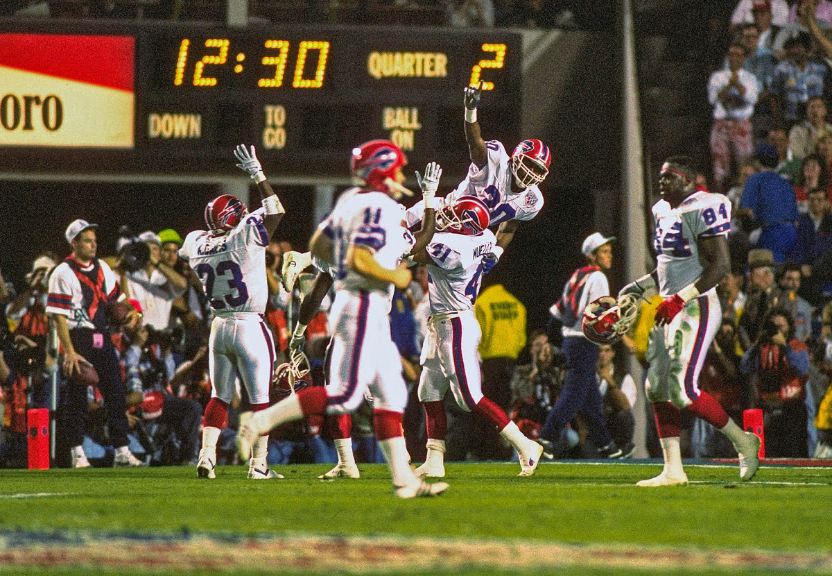 The Buffalo Bills celebrate a play in the first half of their Super Bowl XXV loss to the Giants