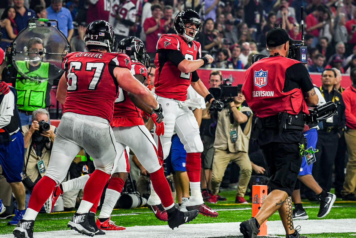 Matt Ryan celebrates a Falcons touchdown during Super Bowl LI