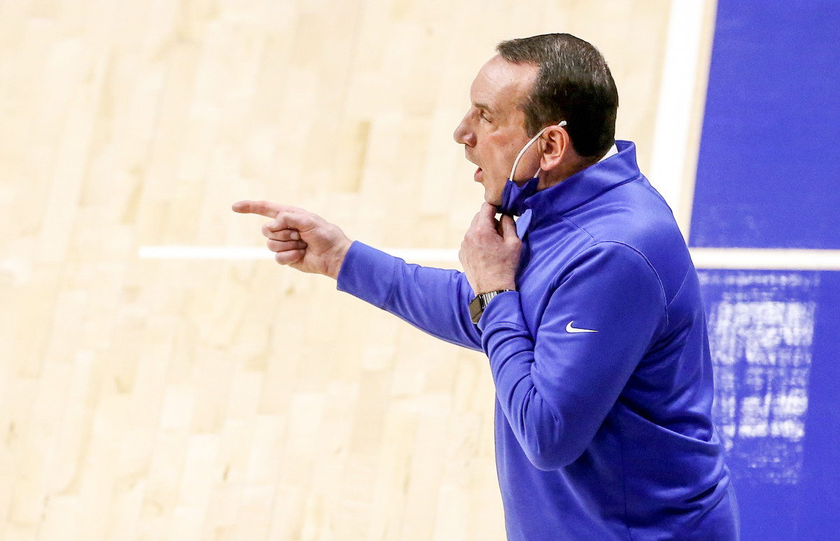 Duke's Coach K yells on the sideline