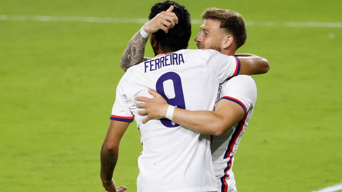 Jesus Ferreira and Paul Arriola celebrate a USMNT goal