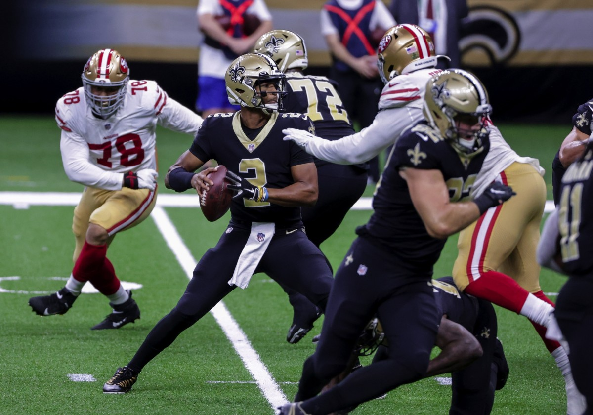 Nov 15, 2020; New Orleans, Louisiana, USA; Saints quarterback Jameis Winston (2) throws against the 49ers during the second half at the Mercedes-Benz Superdome. Mandatory Credit: Derick E. Hingle-USA TODAY Sports
